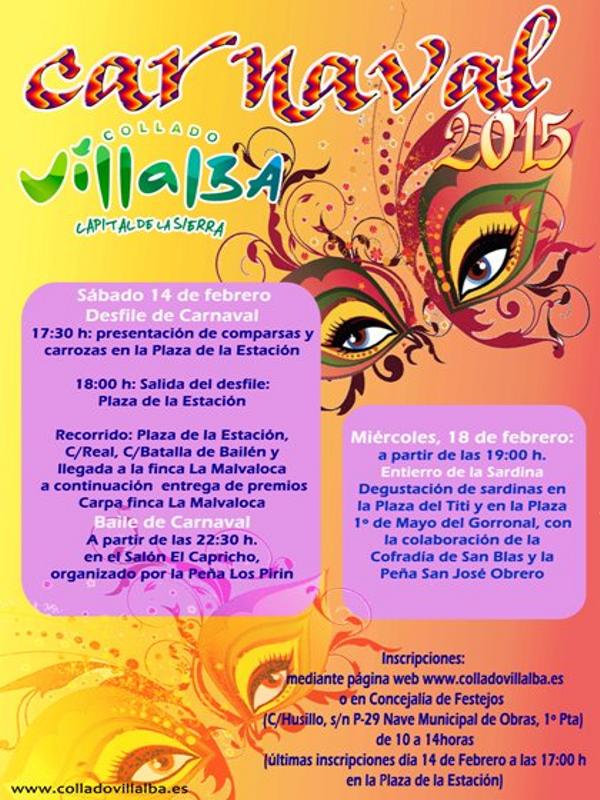 Carnaval 2015 Collado Villalba 'Capital de la Sierra' | Comunidad de Madrid | Cartel