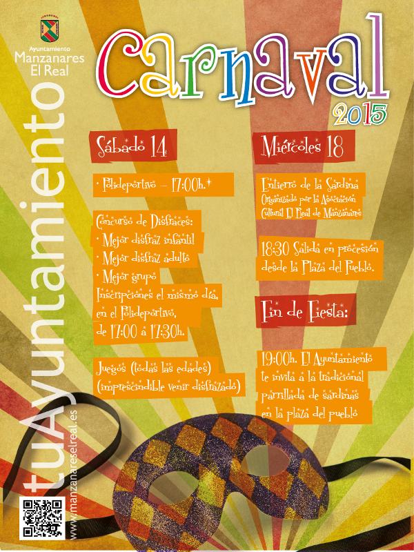 Carnaval 2015 Manzanares El Real | Comunidad de Madrid | Cartel