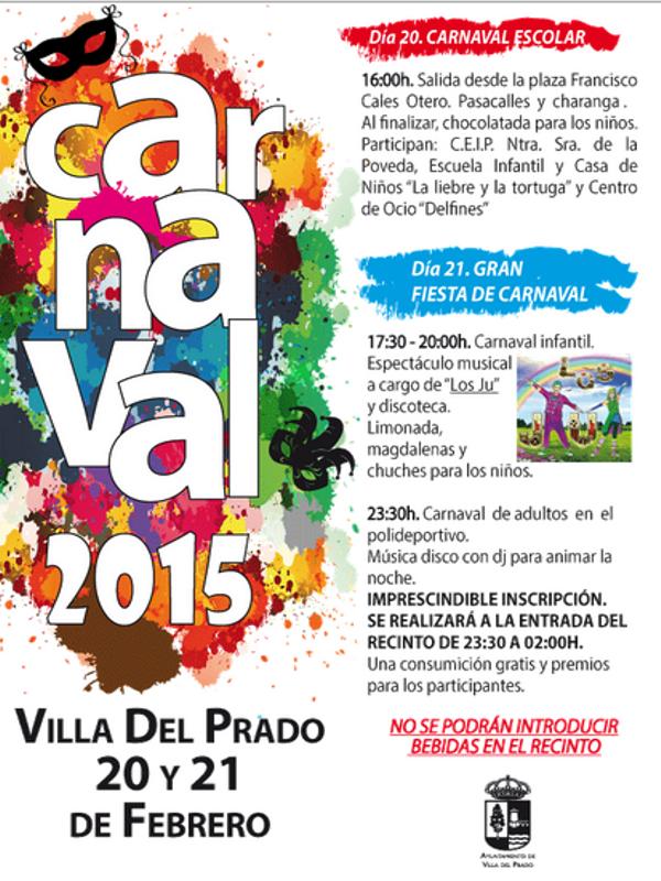 Carnaval 2015 Villa del Prado | Comunidad de Madrid | Cartel