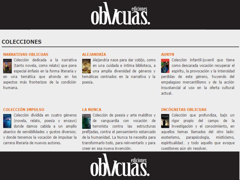 Colecciones Editorial Oblicua | Barcelona - Catalunya - España