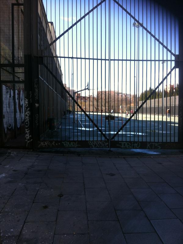 E 1000 | Graffitis de Madrid | Puerta instalaciones deportivas Parque Casino de la Reina (frente) | Calle de Embajadores - Lavapiés - Madrid | Febrero - 2015