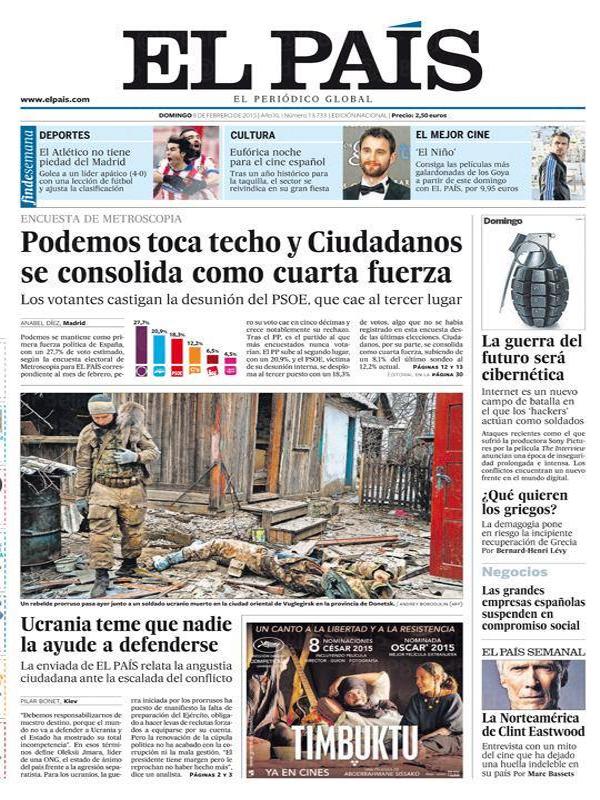Portada de El País | Domingo 8 de febrero de 2015 | 'Podemos toca techo y Ciudadanos se consolida como cuarta fuerza'