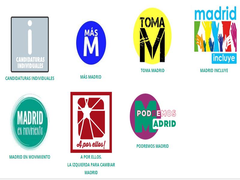 Ahora Madrid | Logos candidaturas presentadas a las primarias | EMA2015
