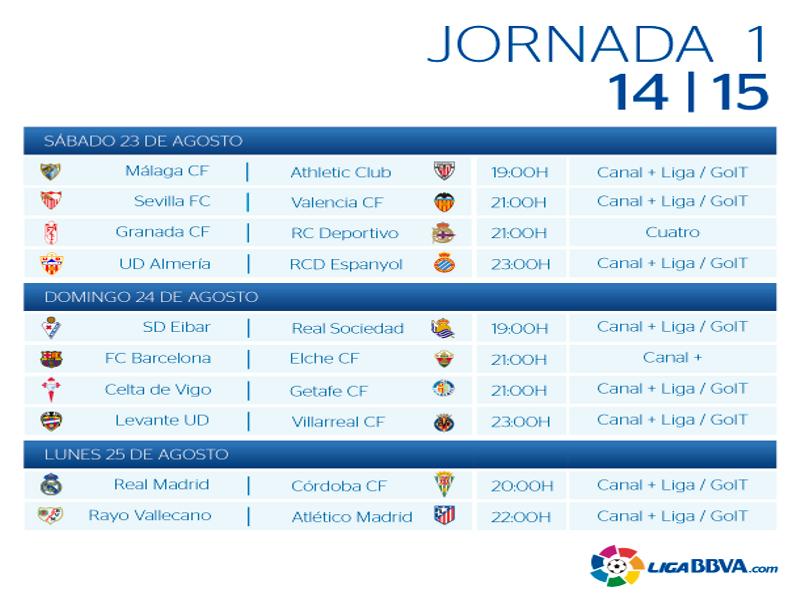 Calendario | Jornada primera | Liga BBVA | Temporada 2014-2015 | Del 23 al 25 de agosto de 2014