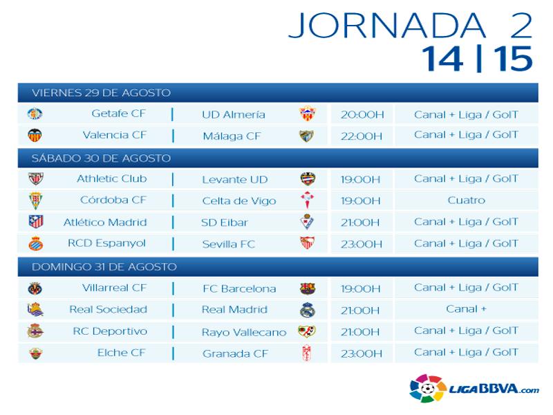 Calendario | Jornada segunda | Liga BBVA | Temporada 2014-2015 | Del 29 al 31 de agosto de 2014
