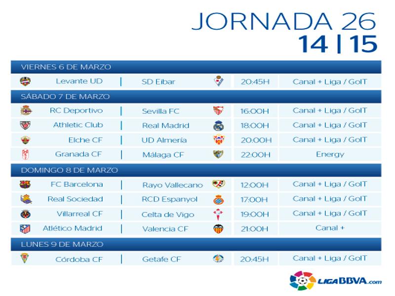 Calendario | Jornada vigésimo sexta | Liga BBVA | Temporada 2014-2015 | Del 6 al 9 de marzo de 2015