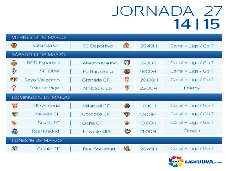 Calendario | Jornada vigésimo séptima | Liga BBVA | Temporada 2014-2015 | Del 13 al 16 de marzo de 2015