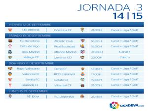 Calendario | Jornada tercera | Liga BBVA | Temporada 2014-2015 | Del 12 al 15 de septiembre de 2014
