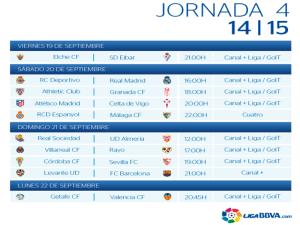 Calendario | Jornada cuarta | Liga BBVA | Temporada 2014-2015 | Del 19 al 22 de septiembre de 2014