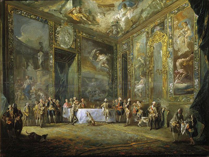 'Carlos III comiendo ante su corte' | Luis Paret | 1775 | Fuente: Wikimedia
