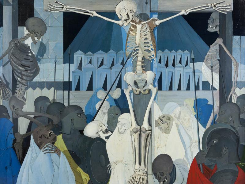 Crucifixión (1954) | Paul Devaux | Óleo sobre tabla | 200x270 cm | Coleccion privada Musée d'Ixelles | Bruselas - Bélgica | Foto: Vincent Everarts | © VEGAP