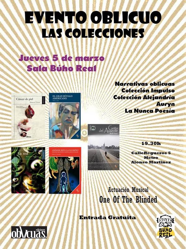 Evento Oblicuo | Las Colecciones de Ediciones Oblicuas | Presentación en Madrid | Sala Búho Real | 05-03-2015 | Cartel