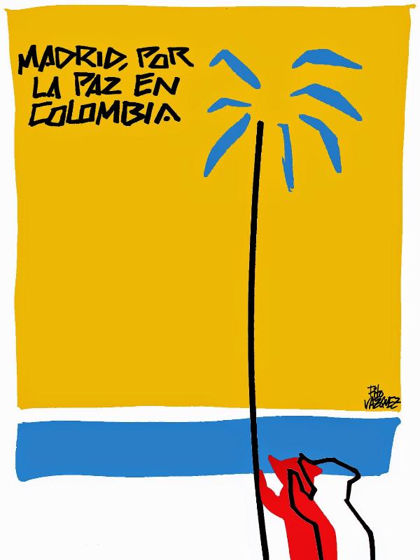 Madrid por la Paz en Colombia | Acto de apoyo a la aCumbre Mundial del Arte y la Cultura para la Paz en Colombia | Martes 31 de marzo de 2015 | Traficantes de Sueños | Cartel: Fito Vázquez