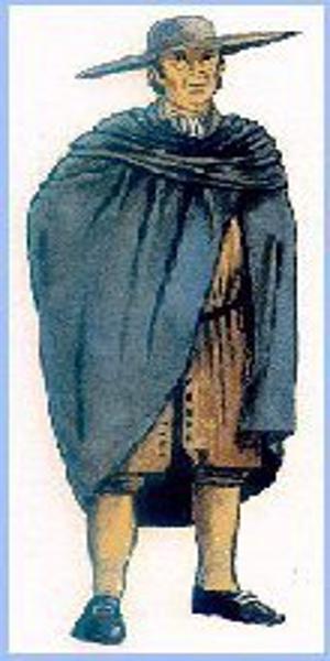 Madrileño del siglo XVIII con capa larga y sombrero de ala ancha