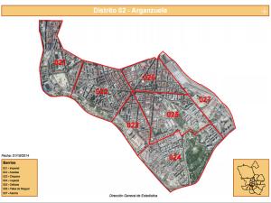 Plano de los 7 barrios del distrito de Arganzuela de la ciudad de Madrid | Fuente: Dirección General de Estadística del Ayuntamiento de Madrid