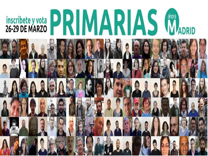 Primarias Ahora Madrid | Del 26 al 29 de marzo de 2015 | Inscríbete y vota | EMA2015