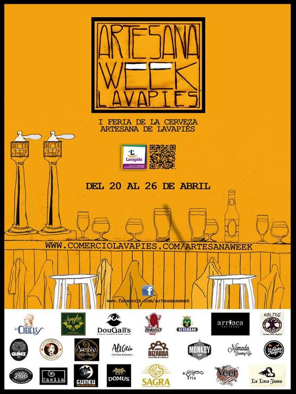 'Artesana Week Lavapiés' I Feria de la Cerveza Artesana de Lavapiés | Del 20 al 26 de abril de 2015 | Asociación de Comerciantes de Lavapiés | Madrid | Cartel