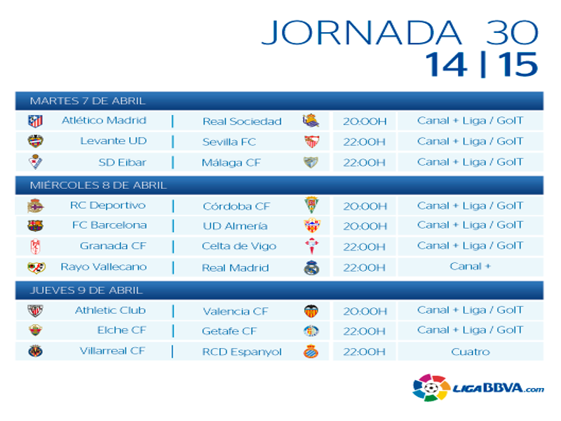 Calendario | Jornada trigésima | Liga BBVA | Temporada 2014-2015 | Del 7 al 9 de abril de 2015