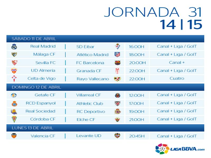 Calendario | Jornada trigésimo primera | Liga BBVA | Temporada 2014-2015 | Del 11 al 13 de abril de 2015