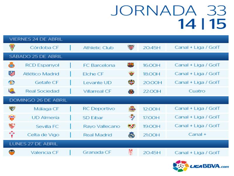 Calendario | Jornada trigésimo tercera | Liga BBVA | Temporada 2014-2015 | Del 24 al 27 de abril de 2015