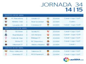 Calendario | Jornada trigésimo cuarta | Liga BBVA | Temporada 2014-2015 | Del 28 al 30 de abril de 2015