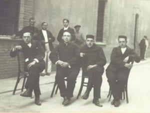 Daniel Anguiano, Francisco Largo Caballero, Julián Besteiro y Andrés Saborit en la cárcel de Cartagena (1918)
