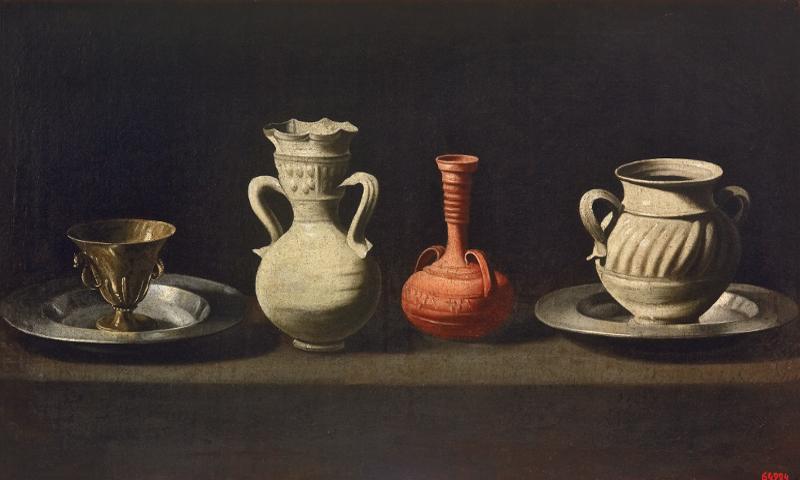 'Bodegón con cacharros' (c. 1650-1655) de Francisco de Zurbarán | Museu Nacional d'Art de Catalunya (Barcelona) | Exposición 'Zurbarán: una nueva mirada' | Museo de Arte Thyssen-Bornemisza | Madrid 2015
