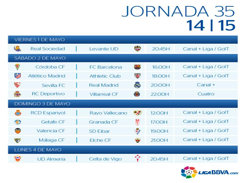 Calendario | Jornada trigésimo quinta | Liga BBVA | Temporada 2014-2015 | Del 1 al 4 de mayo de 2015