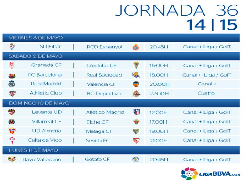 Calendario | Jornada trigésimo sexta | Liga BBVA | Temporada 2014-2015 | Del 8 al 11 de mayo de 2015