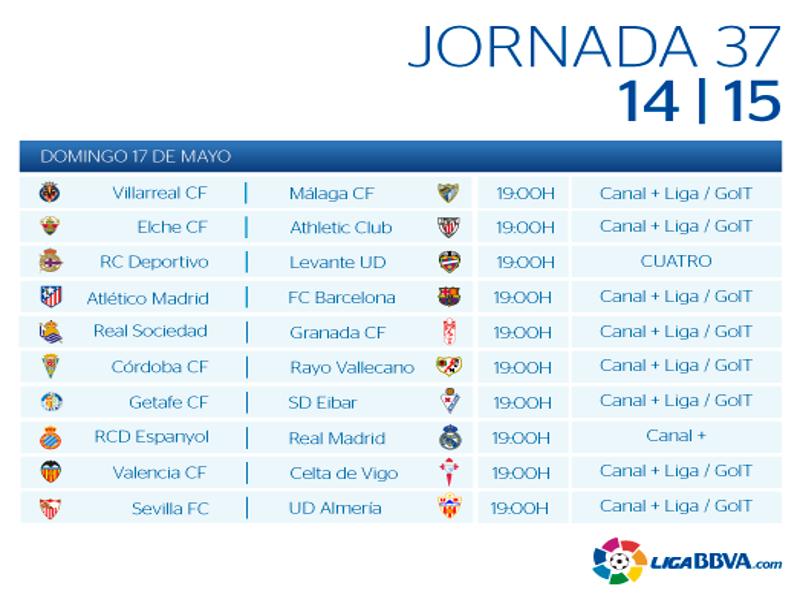 Calendario | Jornada trigésimo séptima | Liga BBVA | Temporada 2014-2015 | Domingo 17 de mayo de 2015