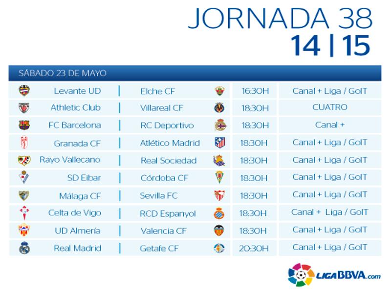 Calendario | Jornada trigésimo octava | Liga BBVA | Temporada 2014-2015 | Sábado 23 de mayo de 2015
