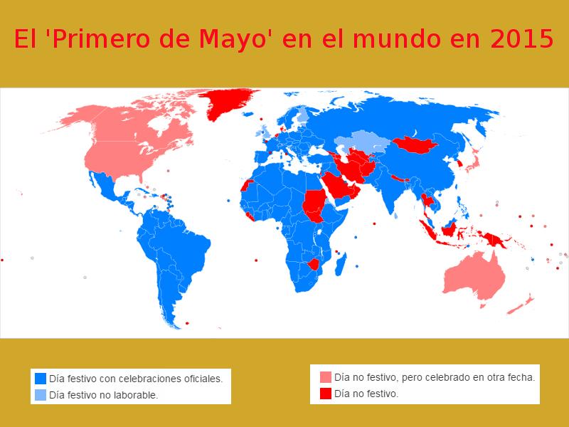 Mapa | El 'Primero de Mayo' en el mundo en 2015 | Fuente: Wikimedia