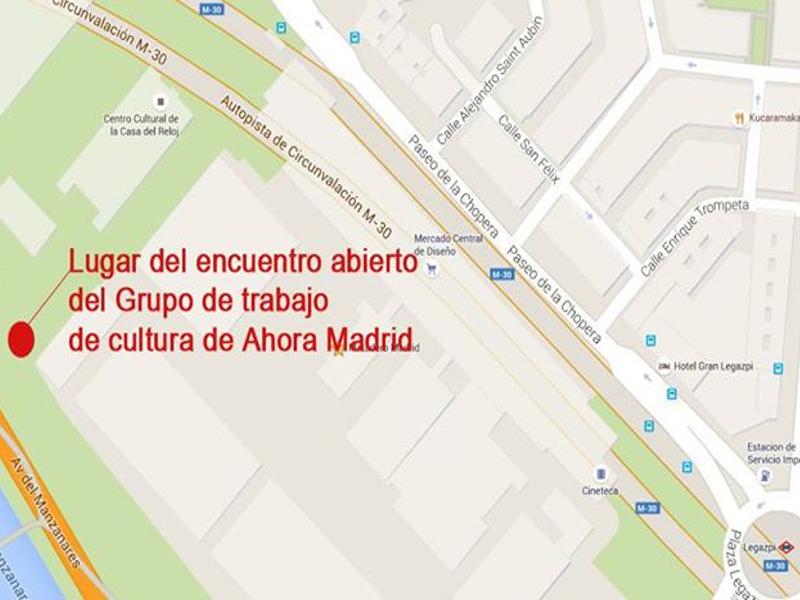 Plano del lugar del encuentro abierto del Grupo de Trabajo de Cultura de Ahora Madrid | 19:00 horas del 29 de mayo de 2015