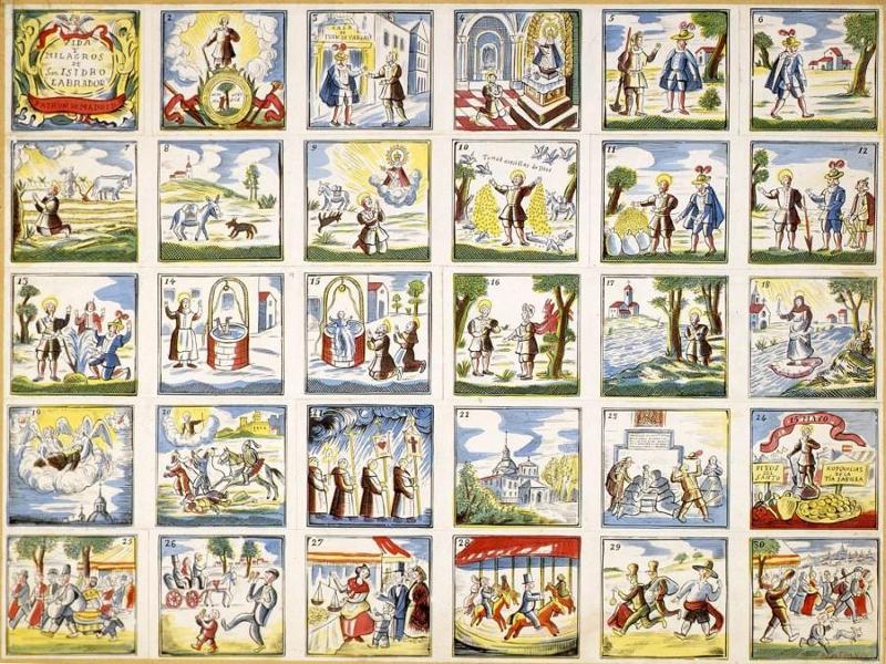 Vida y milagros de San Isidro Labrador, Patrón de Madrid, en un pliego de cordel a color del siglo XX