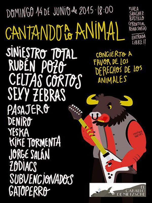 'Cantando a lo animal' | Concierto solidario a favor de los derechos de los animales | Madrid | 14-06-2015 | 17:00 horas | Cartel