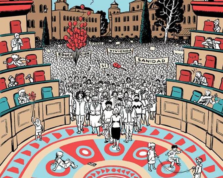 Marea Democracia   Manuela Carmena abre el Salón de Plenos del Ayuntamiento de Madrid a los ciudadanos   Fuente: Movimiento por la Democracia   Detalle