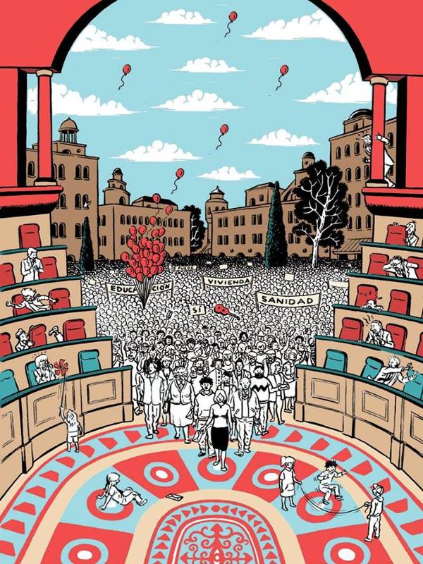 Marea Democracia   Manuela Carmena abre el Salón de Plenos del Ayuntamiento de Madrid a los ciudadanos   Fuente: Movimiento por la Democracia