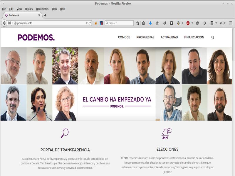 Sitio web de Podemos donde aparecían Ada Colau y Manuela Carmena sin haber dado su consentimiento | Fuente: X-Net