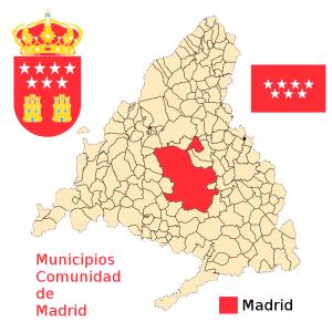 Mapa de municipios de la Comunidad de Madrid con bandera y escudo