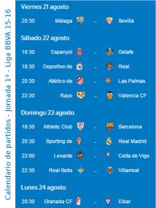 Calendario de partidos | Jornada 1ª | Liga BBVA 15-16 | Del 21 al 24 de agosto de 2015