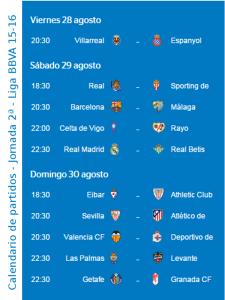 Calendario de partidos | Jornada 2ª | Liga BBVA 15-16 | Del 28 al 30 de agosto de 2015