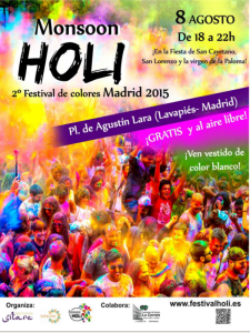 Monsoon Holi Madrid 2015 | Segunda edición del Festival de los Colores | Lavapiés - Madrid | Cartel
