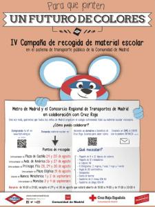 'Para que pinten un futuro de colores' | 4ª campaña solidaria de recogida de material escolar | Sistema de Transporte Público de la Comunidad de Madrid | 2015 | Cartel