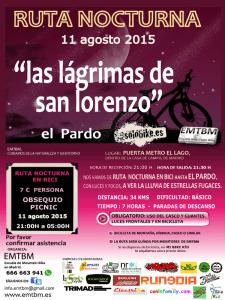 Ruta nocturna en bicicleta 'Las Lágrimas de San Lorenzo' | Martes 11 de agosto de 2015 | EMTBM | Casa de Campo - El Pardo | Madrid | Cartel