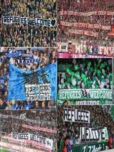 Aficiones y gradas alemanas dan la bienvenida a los migrantes en busca de un futuro mejor durante la jornada de fútbol