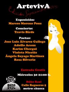 ArtevivA Septiembre 2015 | Sala Búho Real | Madrid | Miércoles 30 de septiembre de 2015 | 21:00 horas | Cartel