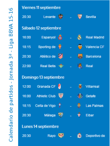 Calendario de partidos | Jornada 3ª | Liga BBVA 15-16 | Del 11 al 14 de septiembre de 2015