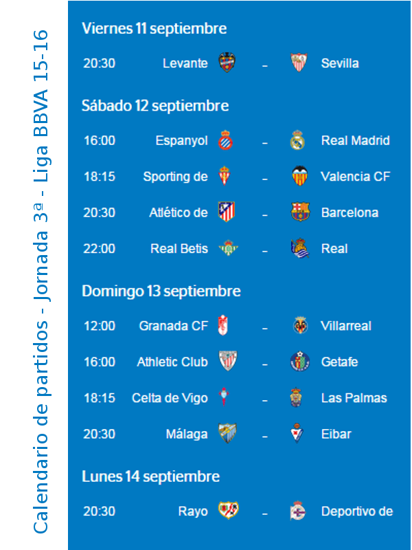 Calendario De Liga Bbva 15 16.Calendario Liga Bbva 1516