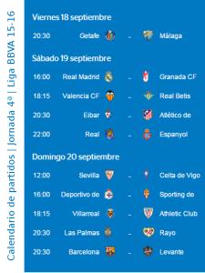 Calendario de partidos | Jornada 4ª | Liga BBVA 15-16 | Del 18 al 20 de septiembre de 2015