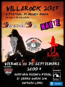 VillaRock 2015 | 5º Festival de música joven en Villa de Vallecas | Viernes 11 de septiembre de 2015 | Cartel